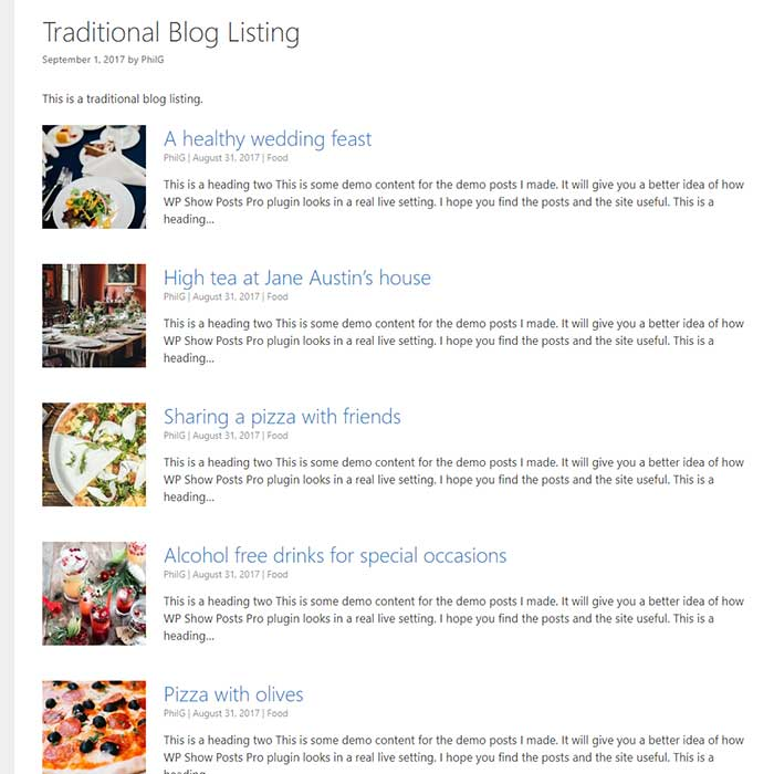 Blog and archive pages